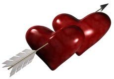 Através de dois corações ilustração stock