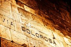 Através de Dolorosa (a estrada de Jesus a Golgatha) Fotografia de Stock