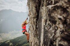 Através de Ferrata que escala em Áustria Fotos de Stock Royalty Free