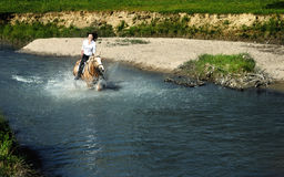 Através do rio Fotos de Stock Royalty Free