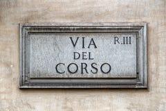 Através do sinal de rua de del corso Roma Foto de Stock Royalty Free