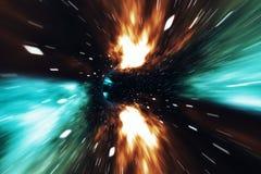 Através do universo Viagem no espaço Curso do tempo Cena de superar o espaço provisório no cosmos rendição 3d ilustração stock