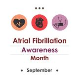 Atrial fibrillation month september. Vector illustration for  National Atrial Fibrillation Awareness Month Royalty Free Stock Image