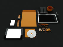 Atributes of web Designer on dark background. Top View. flat Lay. 3D rendering. High resolution. Atributes of web Designer on dark background. Top View. flat Stock Image
