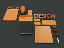 Atributes of web Designer on dark background. Top View. flat Lay. 3D rendering. High resolution. Atributes of web Designer on dark background. Top View. flat Stock Photos
