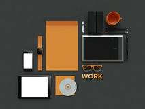 Atributes of web Designer on dark background. Top View. flat Lay. 3D rendering. High resolution. Things of IT specialist. Flat lay. Workspace things for IT Royalty Free Stock Photo