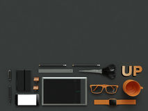 Atributes of web Designer on dark background. Top View. flat Lay. 3D rendering. High resolution. Things from workspace of IT specialist Stock Photography