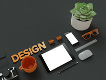 Atributes of web Designer on dark background. Top View. flat Lay. 3D rendering. High resolution. Workspace things for IT specialist Stock Photo