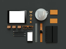 Atributes of web Designer on dark background. Top View. flat Lay. 3D rendering. High resolution. Workspace things for IT specialist Royalty Free Stock Photos