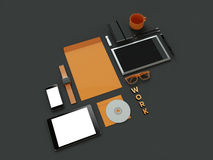Atributes of web Designer on dark background. Top View. flat Lay. 3D rendering. High resolution. Workspace things for IT specialist Royalty Free Stock Photography
