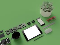 Atributes of web Designer on green background. Top View. flat Lay. 3D rendering. High resolution. AtAtributes of web Designer creative. Flat lay Royalty Free Stock Photos