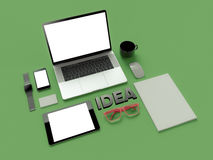 Atributes of web Designer on green background. Top View. flat Lay. 3D rendering. High resolution. Cap of tea and working place of IT worker Royalty Free Stock Photo