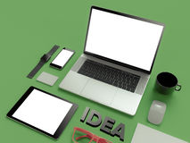 Atributes of web Designer on green background. Top View. flat Lay. 3D rendering. High resolution. Creaative idea, glasses, tablet an phone. Flat lay Royalty Free Stock Photography