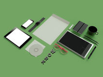 Atributes of web Designer on green background. Top View. flat Lay. 3D rendering. High resolution. Creaative idea, glasses, tablet an phone. Flat lay Stock Photos