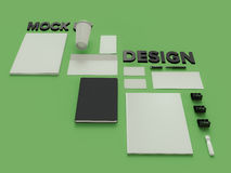 Atributes of web Designer on green background. Top View. flat Lay. 3D rendering. High resolution. Atributes of web Designer creative. Flat lay Stock Photos