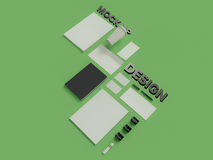 Atributes of web Designer on green background. Top View. flat Lay. 3D rendering. High resolution. Atributes of web Designer creative. Flat lay Stock Photo