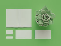 Atributes of web Designer on green background. Top View. flat Lay. 3D rendering. High resolution. Atributes of web Designer for creative ideas Stock Image