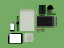 Atributes of web Designer on green background. Top View. flat Lay. 3D rendering. High resolution. Atributes of web Designer on green background. Top View. flat Stock Photos