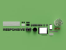 Atributes of web Designer on green background. Top View. flat Lay. 3D rendering. High resolution. Atributes of web Designer on green background. Top View. flat Stock Image