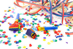 Atributos coloridos del partido fotografía de archivo libre de regalías