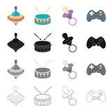 Atributos, cuidado, ferramentas e o outro ícone da Web no estilo dos desenhos animados Prefixo, jogo, ferramenta, ícones na coleç Foto de Stock Royalty Free