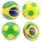 Atributos del equipo de fútbol del Brasil aislados Imagenes de archivo