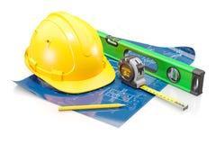 Atributos do engenheiro civil O conceito do projeto da construção e do alojamento imagem de stock