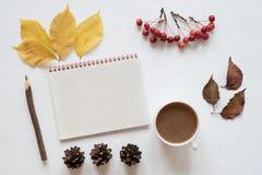Atributos do outono, do café e do caderno em uma placa branca Imagem de Stock