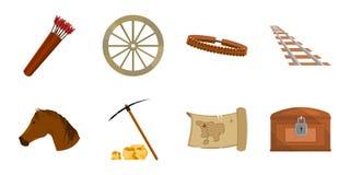 Atributos dos ícones ocidentais selvagens na coleção do grupo para o projeto ilustração do vetor
