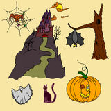 Atributos para o feriado de Dia das Bruxas da celebração Imagens de Stock Royalty Free