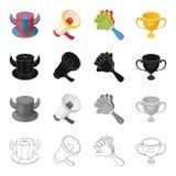 Atributos, símbolos, esporte, e o outro ícone da Web no estilo dos desenhos animados Olympics, realizações, ícones do lucro no gr ilustração royalty free
