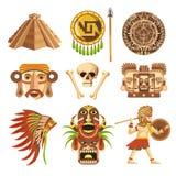 Atributos tradicionais do Maya e relíquias impagáveis antigas ajustados ilustração stock