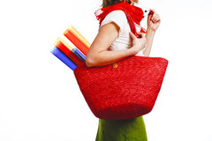 Atristic woman with bag. Atristic woman with big red bag, after shopping, on white Royalty Free Stock Photos