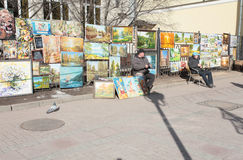 Atrists in Old Arbat street, Moscow. Old Arbat street in Moscow, Russia is famous for artists and musicians Stock Images