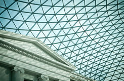 Atrium of the British Museum. Glass roof of atrium of the British Museum in London, UK stock photos