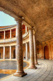 Atrium with columns at the Palace of Charles V, Alhambra fortress in Granada, Spain. Atrium with columns at the Palace of Charles V, Alhambra fortress in Granada Stock Images