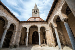 Atrium of Euphrasian basilica, Porec, Istria, Croatia. Wide angle view of Atrium of Euphrasian basilica in the historic centre of Porec, Croatia Stock Photos