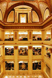 The Atrium Macy`s Departmetn store in Chicago. The former Marshall Fields Department store, now Macy`s, is designed in the Beaux Artes style and features a Stock Photos