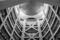 Atrium, National Institutes of Health Clinical Center. Black and white of atrium at the National Institutes of Health Clinical Center, building number ten Stock Images