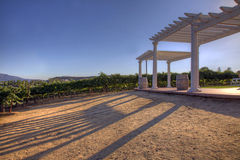 Atrium Over Looking Wine Field. An outdoor atrium that overlooks a wine field while the sunsets Stock Photos