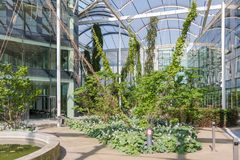 Atrium with pool and plants in a modern building Stock Images