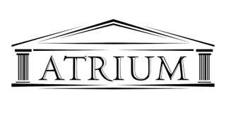 Atrium zakrywający portyka klasyczny łękowaty logo ilustracji