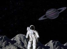 Atronauta su superficie lunare Fotografia Stock Libera da Diritti