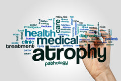 Atrophy word cloud concept on grey background Royalty Free Stock Photo