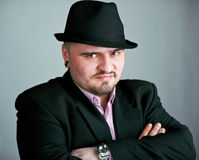 Atrractive man in black hat Royalty Free Stock Photo