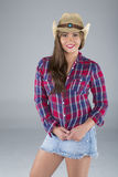 Atrractive  woman in cowboy hat Stock Photography