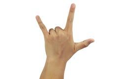 Atrás da mostra do sinal do amor da palma Imagem de Stock Royalty Free