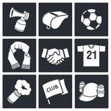Atrybut piłki nożnej fan ikony kolekcja ilustracji