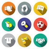 Atrybut piłki nożnej fan ikony kolekcja Obraz Royalty Free