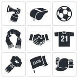 Atrybut piłki nożnej fan ikony set Obraz Royalty Free
